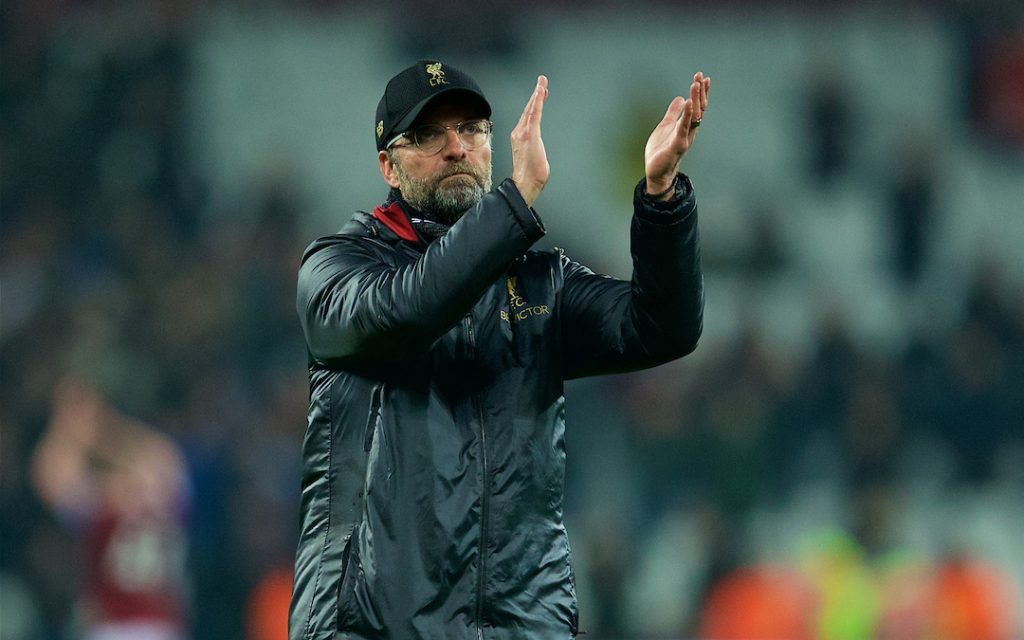 LONDON, ENGLAND - Monday, February 4, 2019: Liverpool's manager Jürgen Klopp applauds the supporters after the 1-1 draw during the FA Premier League match between West Ham United FC and Liverpool FC at the London Stadium. (Pic by David Rawcliffe/Propaganda)