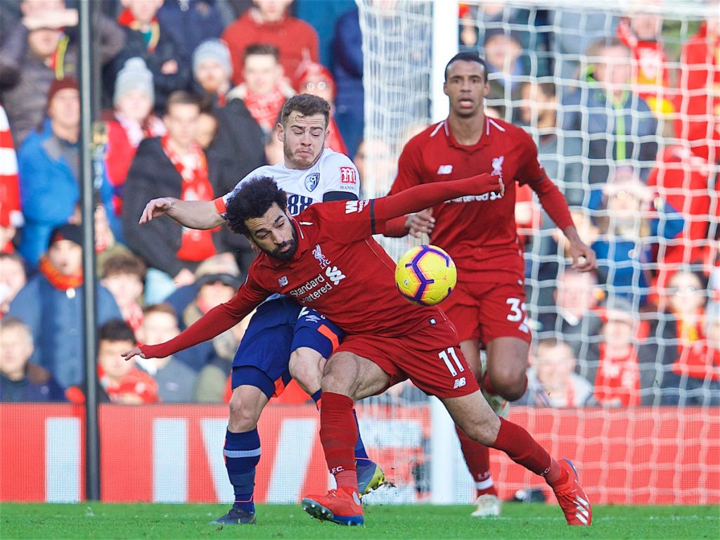 LIVERPOOL, ENGLAND - Saturday, February 9, 2019: Liverpool's Mohamed Salah during the FA Premier League match between Liverpool FC and AFC Bournemouth at Anfield. (Pic by David Rawcliffe/Propaganda)