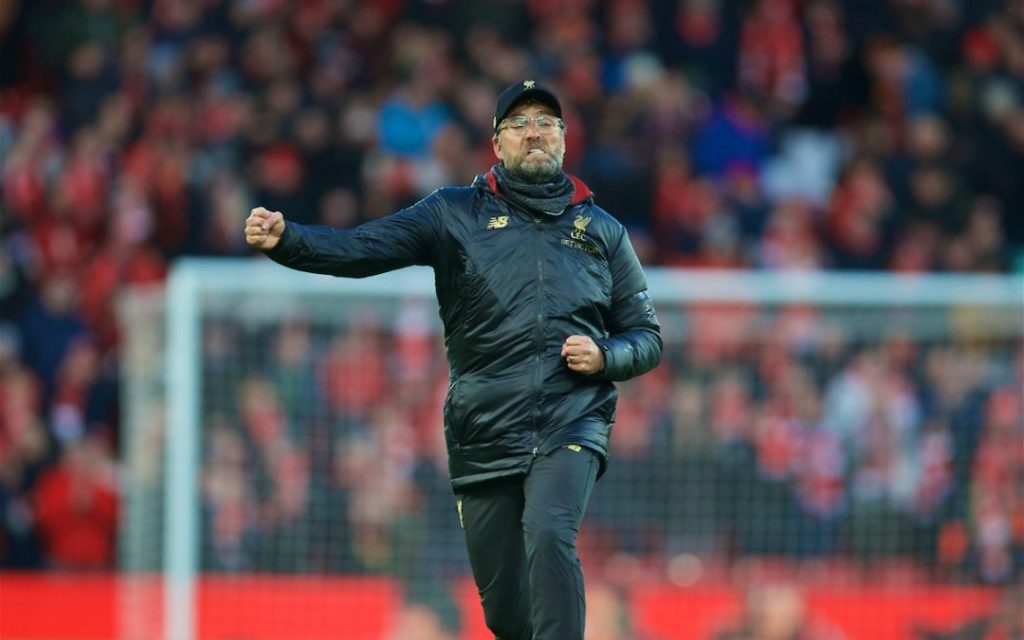 LIVERPOOL, ENGLAND - Saturday, February 9, 2019: Liverpool's manager Jürgen Klopp celebrates after the 3-0 victory over AFC Bournemouth during the FA Premier League match between Liverpool FC and AFC Bournemouth at Anfield. (Pic by David Rawcliffe/Propaganda)