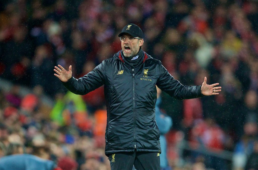 LIVERPOOL, ENGLAND - Tuesday, February 19, 2019: Liverpool's manager Jürgen Klopp tells the Liverpool supporters to calm down during the UEFA Champions League Round of 16 1st Leg match between Liverpool FC and FC Bayern München at Anfield. (Pic by David Rawcliffe/Propaganda)