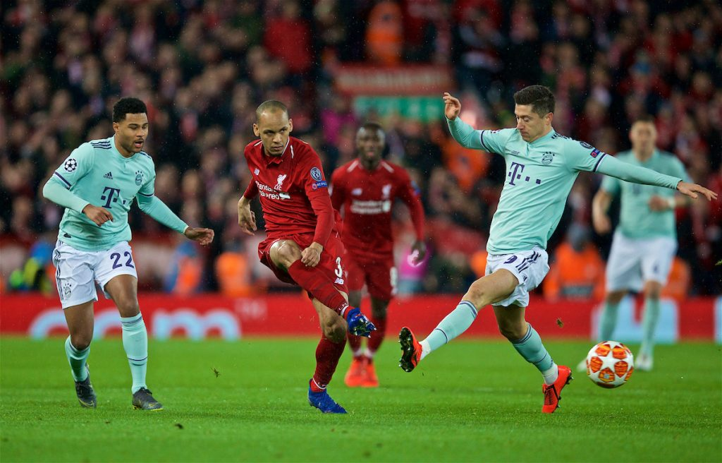 LIVERPOOL, ENGLAND - Tuesday, February 19, 2019: Liverpool's Fabio Henrique Tavares 'Fabinho' shoots during the UEFA Champions League Round of 16 1st Leg match between Liverpool FC and FC Bayern München at Anfield. (Pic by David Rawcliffe/Propaganda)