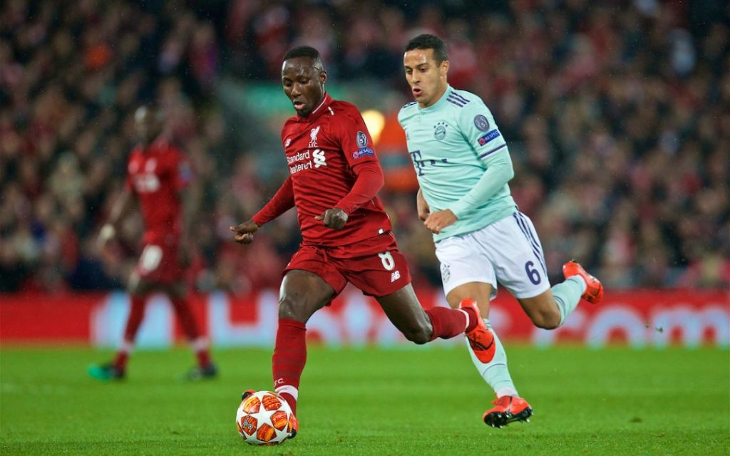 LIVERPOOL, ENGLAND - Tuesday, February 19, 2019: Liverpool's Naby Keita (L) and FC Bayern Munich's Thiago Alcántara during the UEFA Champions League Round of 16 1st Leg match between Liverpool FC and FC Bayern München at Anfield. (Pic by David Rawcliffe/Propaganda)