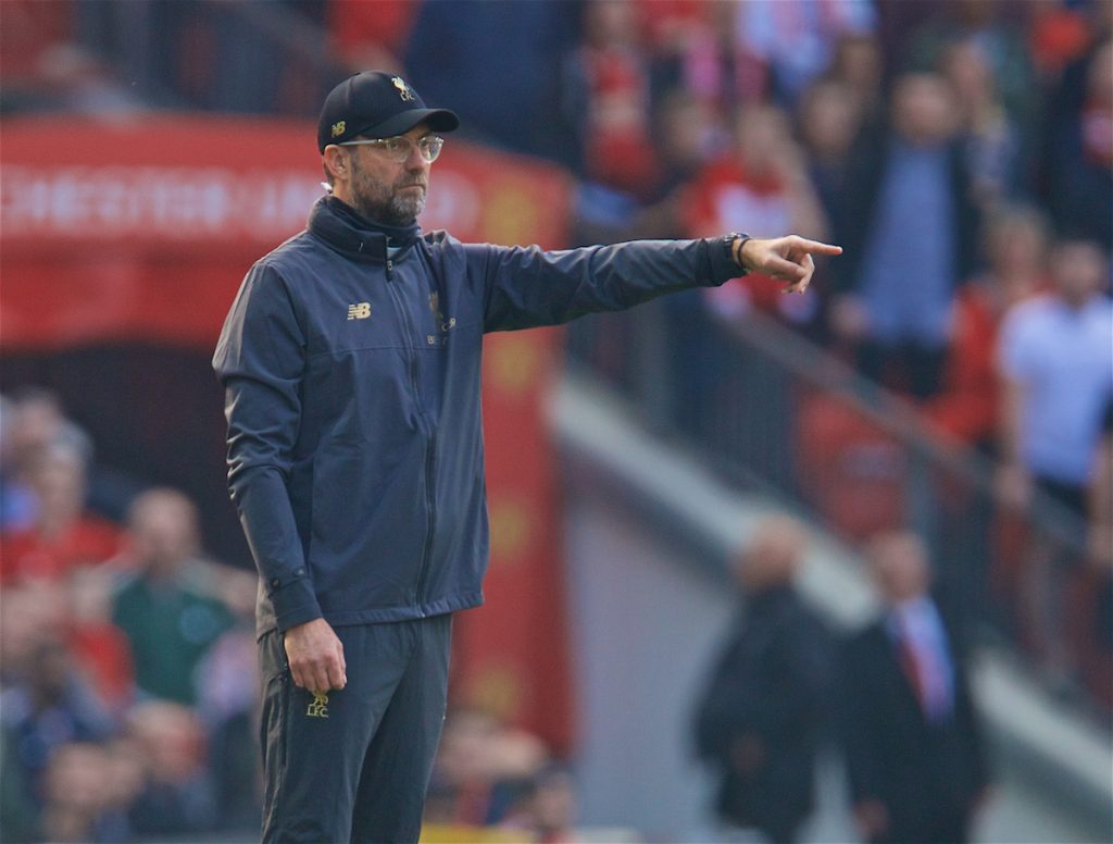 MANCHESTER, ENGLAND - Sunday, February 24, 2019: Liverpool's manager Jürgen Klopp reacts during the FA Premier League match between Manchester United FC and Liverpool FC at Old Trafford. (Pic by David Rawcliffe/Propaganda)