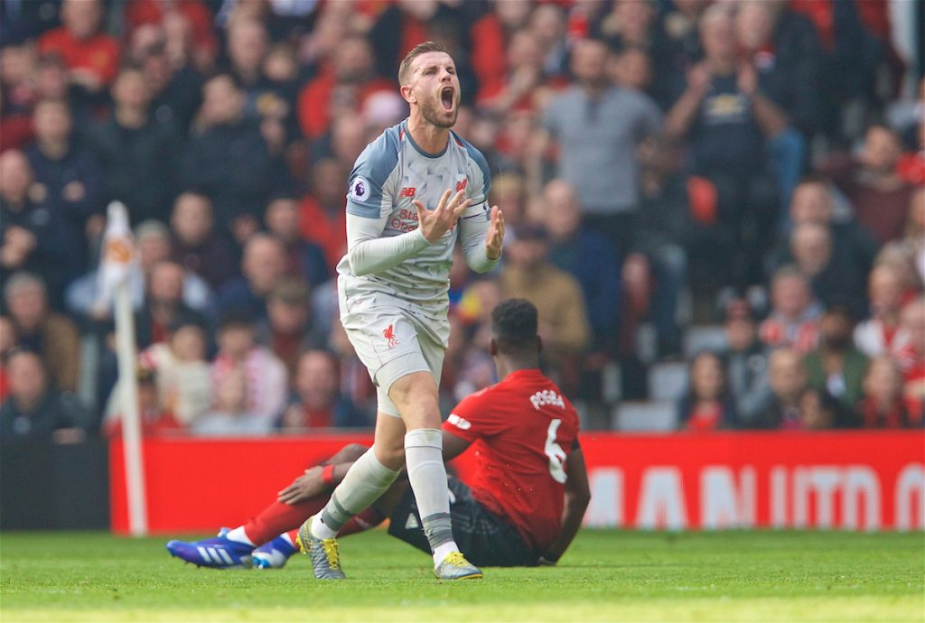 MANCHESTER, ENGLAND - Sunday, February 24, 2019: Liverpool's captain Jordan Henderson reacts during the FA Premier League match between Manchester United FC and Liverpool FC at Old Trafford. (Pic by David Rawcliffe/Propaganda)
