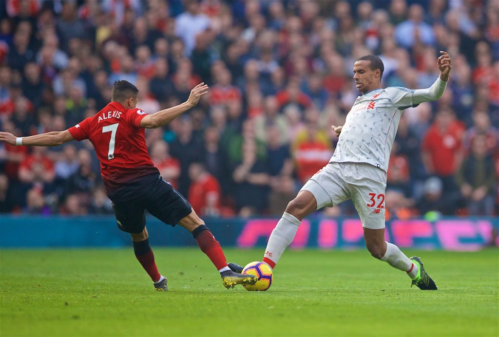 MANCHESTER, ENGLAND - Sunday, February 24, 2019: Manchester United's Alexis Sánchez (L) and Liverpool's Joel Matip during the FA Premier League match between Manchester United FC and Liverpool FC at Old Trafford. (Pic by David Rawcliffe/Propaganda)