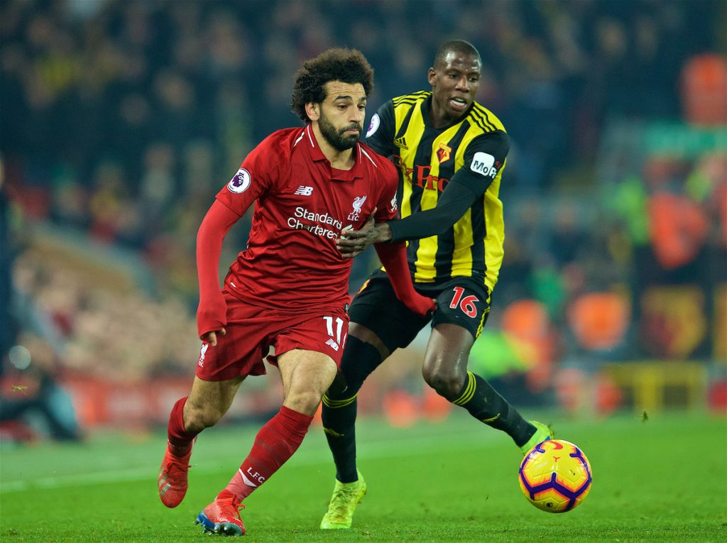 LIVERPOOL, ENGLAND - Wednesday, February 27, 2019: Liverpool's Mohamed Salah (L) and Watford's Abdoulaye Doucouré during the FA Premier League match between Liverpool FC and Watford FC at Anfield. (Pic by Paul Greenwood/Propaganda)