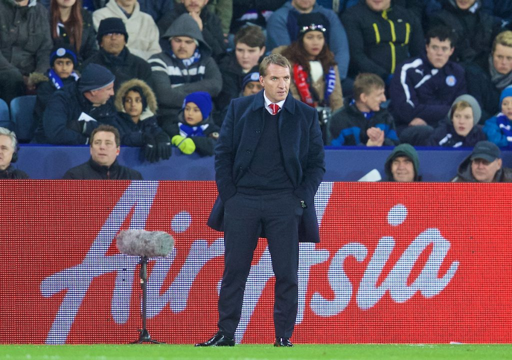 LEICESTER, ENGLAND - Tuesday, December 2, 2014: Liverpool's manager Brendan Rodgers during the Premier League match against Leicester City at Filbert Way. (Pic by David Rawcliffe/Propaganda)