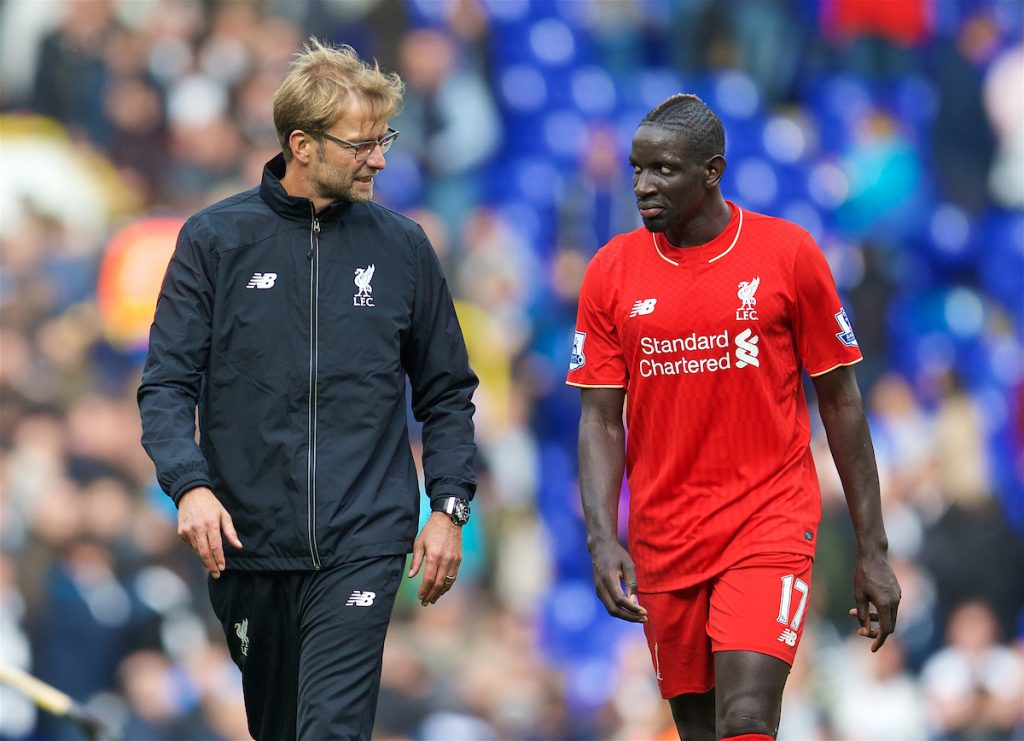 LONDON, ENGLAND - Saturday, October 17, 2015: Liverpool's manager Jürgen Klopp with Mamadou Sakho after the goal-less draw with Tottenham Hotspur the Premier League match at White Hart Lane. (Pic by David Rawcliffe/Kloppaganda)