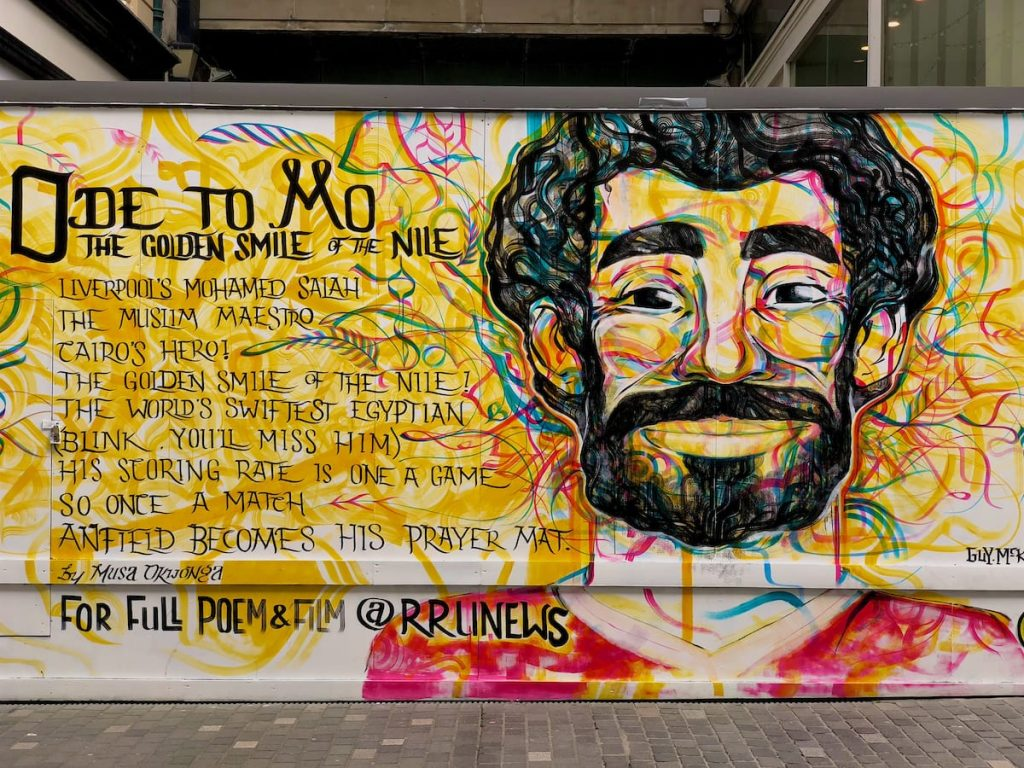 """LIVERPOOL, ENGLAND - Friday, June 8, 2018: An """"Ode to Mo"""" poem and street art by Musa Okwonga dedicated to Liverpool and Egypt footballer Mohamed Salah painted on a vacant lot in Liverpool city centre. (Pic by David Rawcliffe/Propaganda)"""