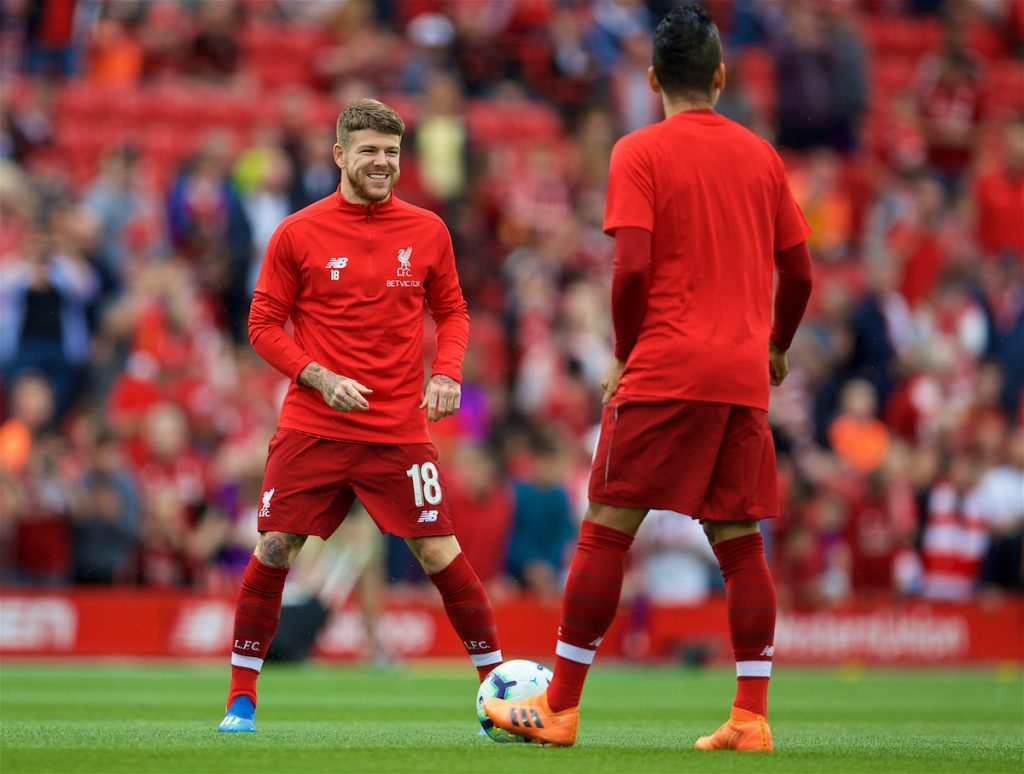 LIVERPOOL, ENGLAND - Tuesday, August 7, 2018: Liverpool's captain Alberto Moreno before the preseason friendly match between Liverpool FC and Torino FC at Anfield. (Pic by David Rawcliffe/Propaganda)