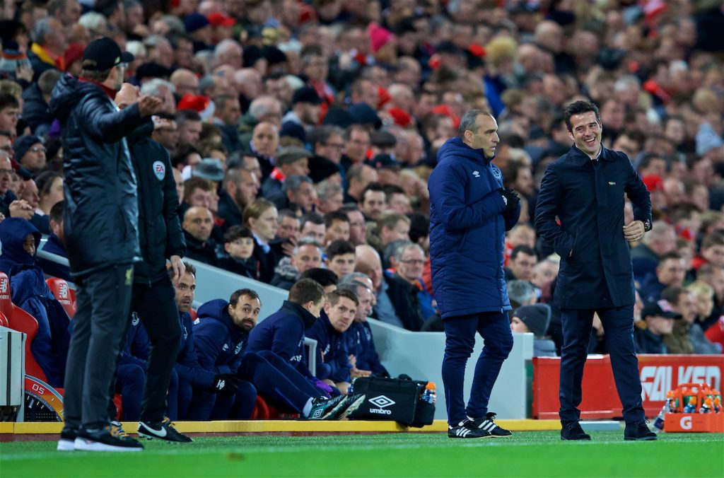 LIVERPOOL, ENGLAND - Sunday, December 2, 2018: Everton's manager Marco Silva (R) laughs with Liverpool's manager Jürgen Klopp during the FA Premier League match between Liverpool FC and Everton FC at Anfield, the 232nd Merseyside Derby. (Pic by Paul Greenwood/Propaganda)