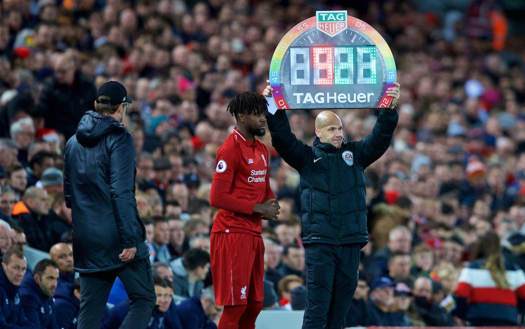LIVERPOOL, ENGLAND - Sunday, December 2, 2018: Liverpool's Divock Origi prepares to come on as a substitute during the FA Premier League match between Liverpool FC and Everton FC at Anfield, the 232nd Merseyside Derby. (Pic by Paul Greenwood/Propaganda)