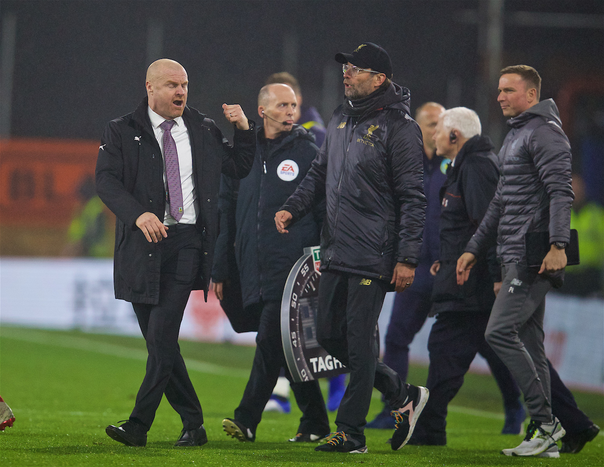BURNLEY, ENGLAND - Wednesday, December 5, 2018: Burnley's manager Sean Dyche and Liverpool's manager Jürgen Klopp exchange words after the FA Premier League match between Burnley FC and Liverpool FC at Turf Moor. Liverpool won 3-1. (Pic by David Rawcliffe/Propaganda)