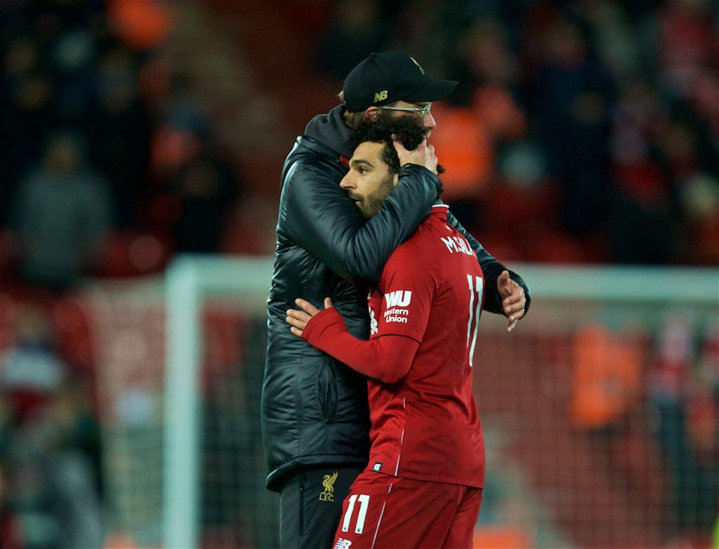 LIVERPOOL, ENGLAND - Wednesday, January 30, 2019: Liverpool's Mohamed Salah is embraced by manager Jürgen Klopp after the FA Premier League match between Liverpool FC and Leicester City FC at Anfield. The game ended in a 1-1 draw. (Pic by David Rawcliffe/Propaganda)