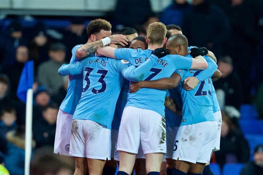 LIVERPOOL, ENGLAND - Wednesday, February 6, 2019: Manchester City players celebrate the second goal during the FA Premier League match between Everton FC and Manchester City FC at Goodison Park. (Pic by David Rawcliffe/Propaganda)