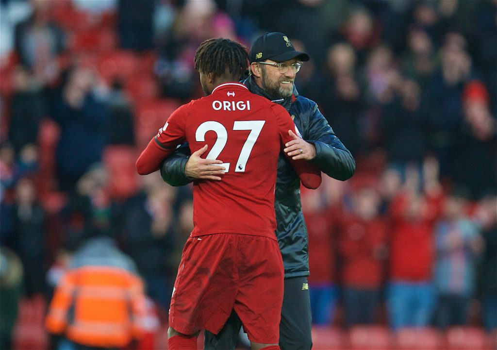 LIVERPOOL, ENGLAND - Saturday, February 9, 2019: Liverpool's manager Jürgen Klopp embraces substitute Divock Origi after the 3-0 victory during the FA Premier League match between Liverpool FC and AFC Bournemouth at Anfield. (Pic by David Rawcliffe/Propaganda)