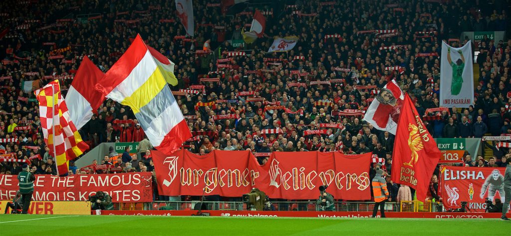 LIVERPOOL, ENGLAND - Wednesday, February 27, 2019: Liverpool supporters on the Spion Kop with banners before the FA Premier League match between Liverpool FC and Watford FC at Anfield. (Pic by Paul Greenwood/Propaganda)