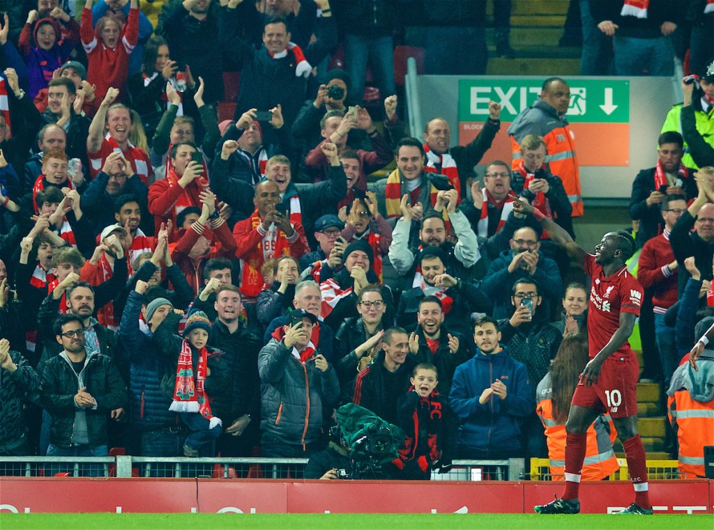 LIVERPOOL, ENGLAND - Wednesday, February 27, 2019: Liverpool's Sadio Mane celebrates scoring the first goal with supporters during the FA Premier League match between Liverpool FC and Watford FC at Anfield. (Pic by Paul Greenwood/Propaganda)