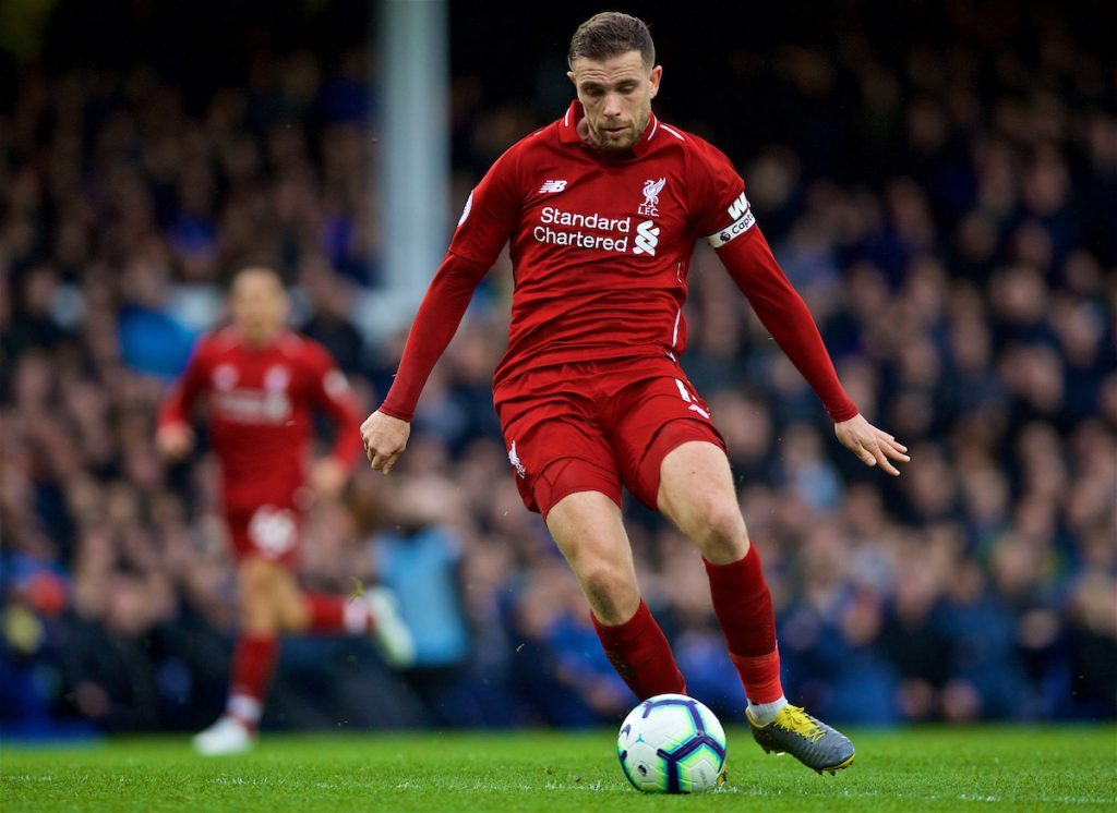 LIVERPOOL, ENGLAND - Sunday, March 3, 2019: Liverpool's captain Jordan Henderson during the FA Premier League match between Everton FC and Liverpool FC, the 233rd Merseyside Derby, at Goodison Park. (Pic by Laura Malkin/Propaganda)