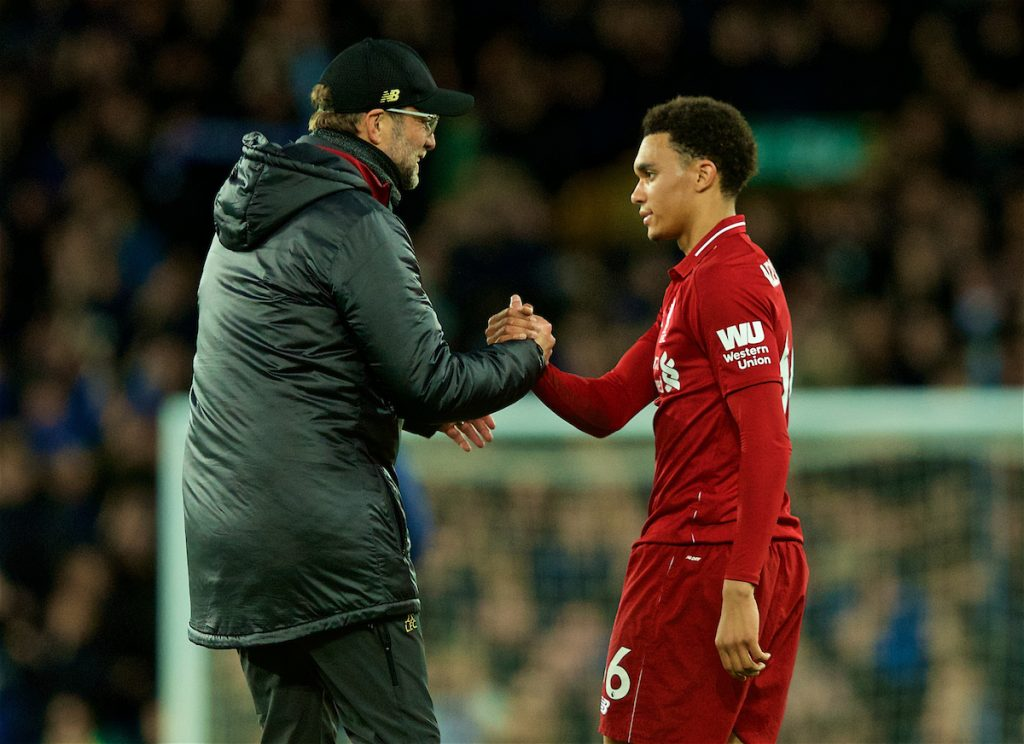 LIVERPOOL, ENGLAND - Sunday, March 3, 2019: Liverpool's manager Jürgen Klopp shakes hands with Trent Alexander-Arnold after the goal-less draw during the FA Premier League match between Everton FC and Liverpool FC, the 233rd Merseyside Derby, at Goodison Park. (Pic by Paul Greenwood/Propaganda)