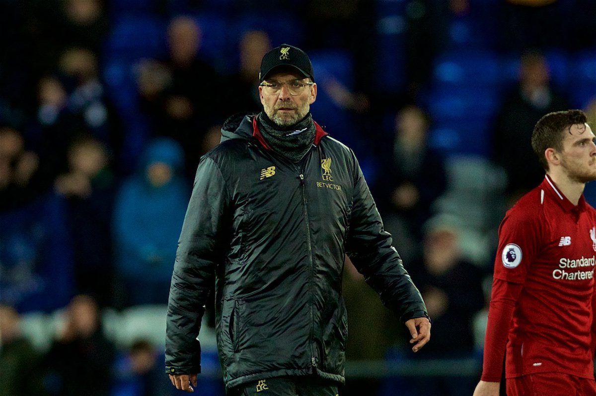 LIVERPOOL, ENGLAND - Sunday, March 3, 2019: Liverpool's manager J¸rgen Klopp looks dejected after the goal-less draw during the FA Premier League match between Everton FC and Liverpool FC, the 233rd Merseyside Derby, at Goodison Park. (Pic by Paul Greenwood/Propaganda)