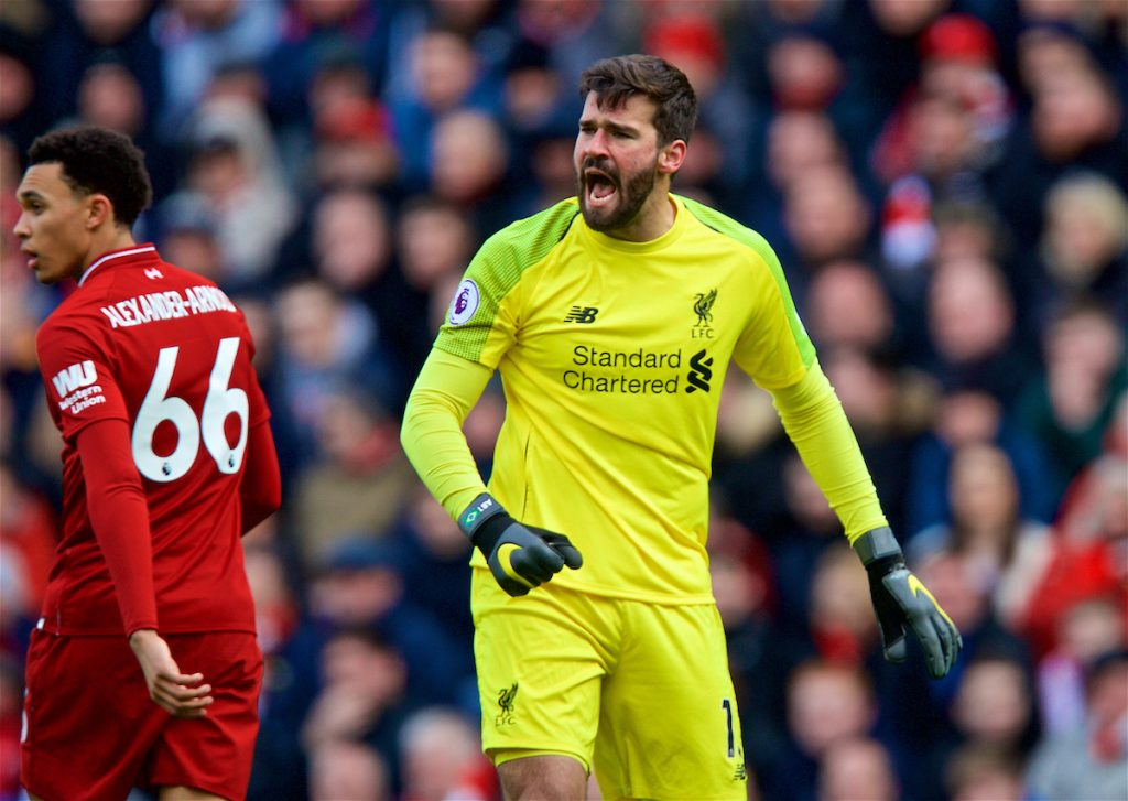LIVERPOOL, ENGLAND - Saturday, March 9, 2019: Liverpool's goalkeeper Alisson Becker looks dejected after the referee refused to award a foul leading to Burnley's opening goal during the FA Premier League match between Liverpool FC and Burnley FC at Anfield. (Pic by David Rawcliffe/Propaganda)