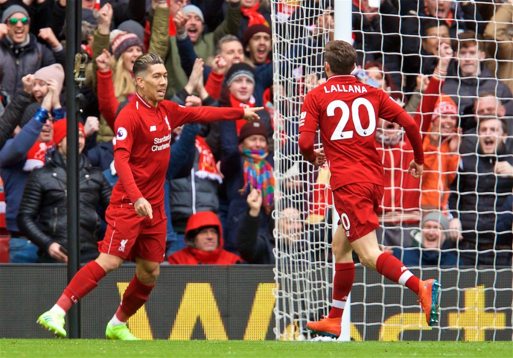 LIVERPOOL, ENGLAND - Saturday, March 9, 2019: Liverpool's Roberto Firmino celebrates scoring the first equalising goal with team-mate Adam Lallana during the FA Premier League match between Liverpool FC and Burnley FC at Anfield. (Pic by David Rawcliffe/Propaganda)