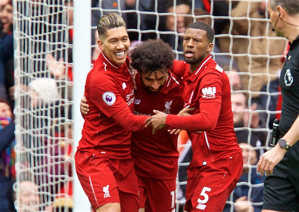 LIVERPOOL, ENGLAND - Saturday, March 9, 2019: Liverpool's Roberto Firmino (L) celebrates scoring the first equalising goal with team-mates Mohamed Salah (C) and Georginio Wijnaldum (R) during the FA Premier League match between Liverpool FC and Burnley FC at Anfield. (Pic by David Rawcliffe/Propaganda)