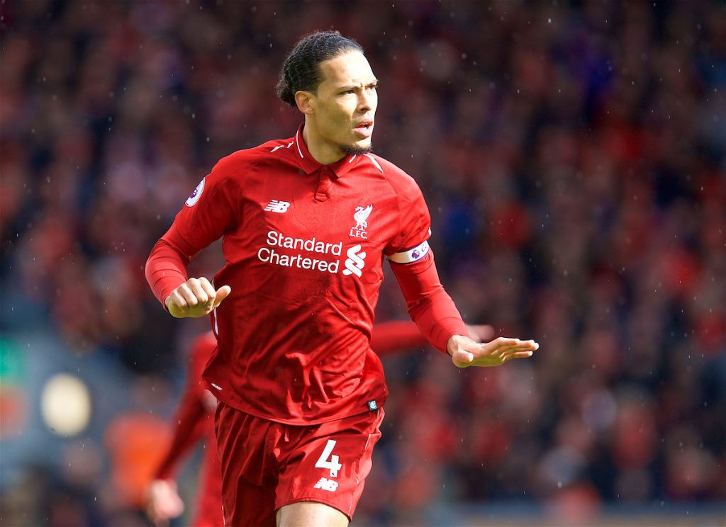 LIVERPOOL, ENGLAND - Saturday, March 9, 2019: Liverpool's Virgil van Dijk during the FA Premier League match between Liverpool FC and Burnley FC at Anfield. (Pic by David Rawcliffe/Propaganda)