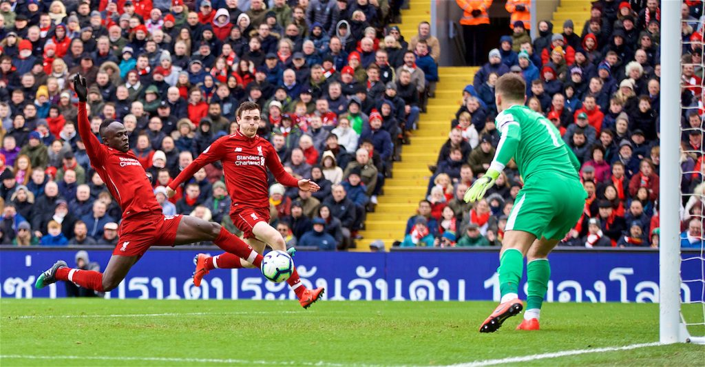 LIVERPOOL, ENGLAND - Saturday, March 9, 2019: Liverpool's Sadio Mane misses a chance during the FA Premier League match between Liverpool FC and Burnley FC at Anfield. (Pic by David Rawcliffe/Propaganda)