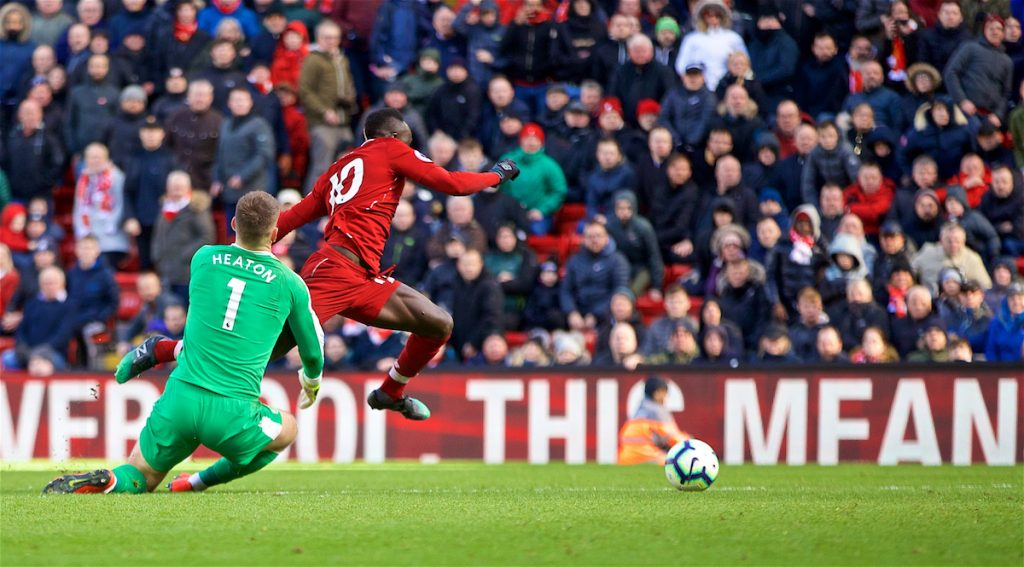 LIVERPOOL, ENGLAND - Saturday, March 9, 2019: Liverpool's Sadio Mane on his way to score the fourth goal during the FA Premier League match between Liverpool FC and Burnley FC at Anfield. (Pic by David Rawcliffe/Propaganda)