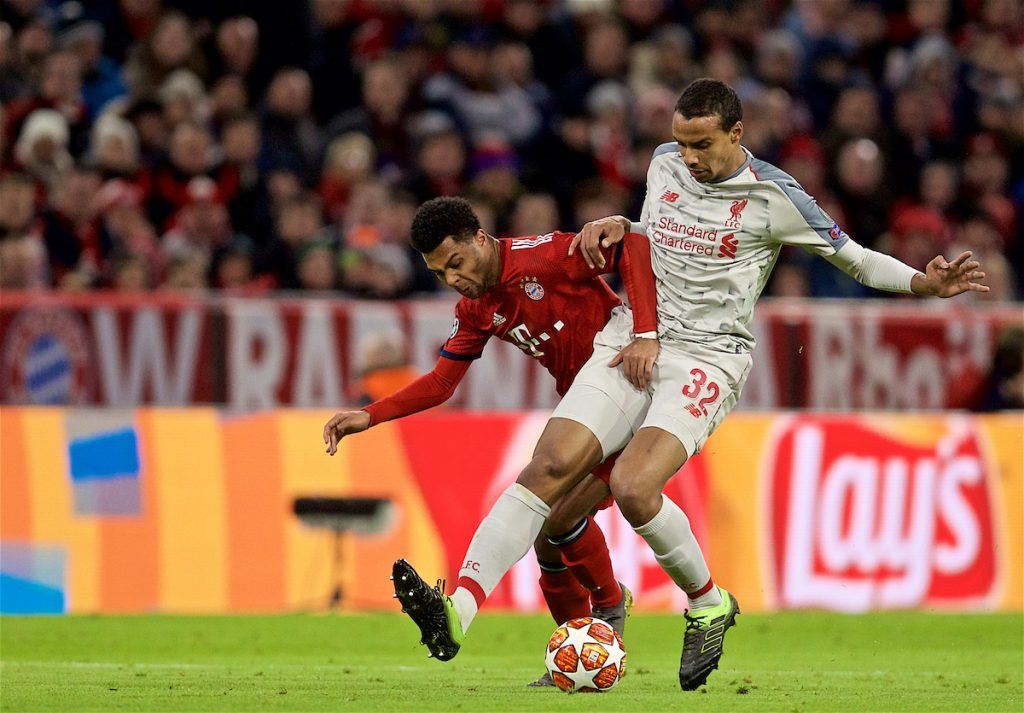 MUNICH, GERMANY - Wednesday, March 13, 2019: Liverpool's Joel Matip during the UEFA Champions League Round of 16 2nd Leg match between FC Bayern München and Liverpool FC at the Allianz Arena. (Pic by David Rawcliffe/Propaganda)