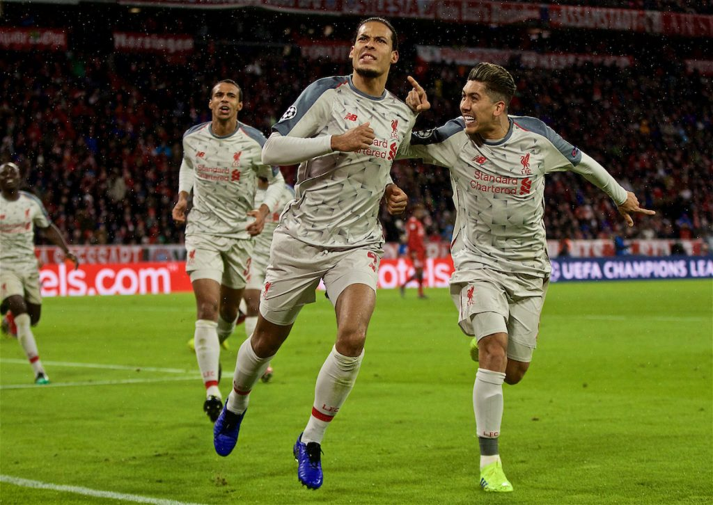 MUNICH, GERMANY - Wednesday, March 13, 2019: Liverpool's Virgil van Dijk celebrates scoring the second goal during the UEFA Champions League Round of 16 2nd Leg match between FC Bayern München and Liverpool FC at the Allianz Arena. (Pic by David Rawcliffe/Propaganda)