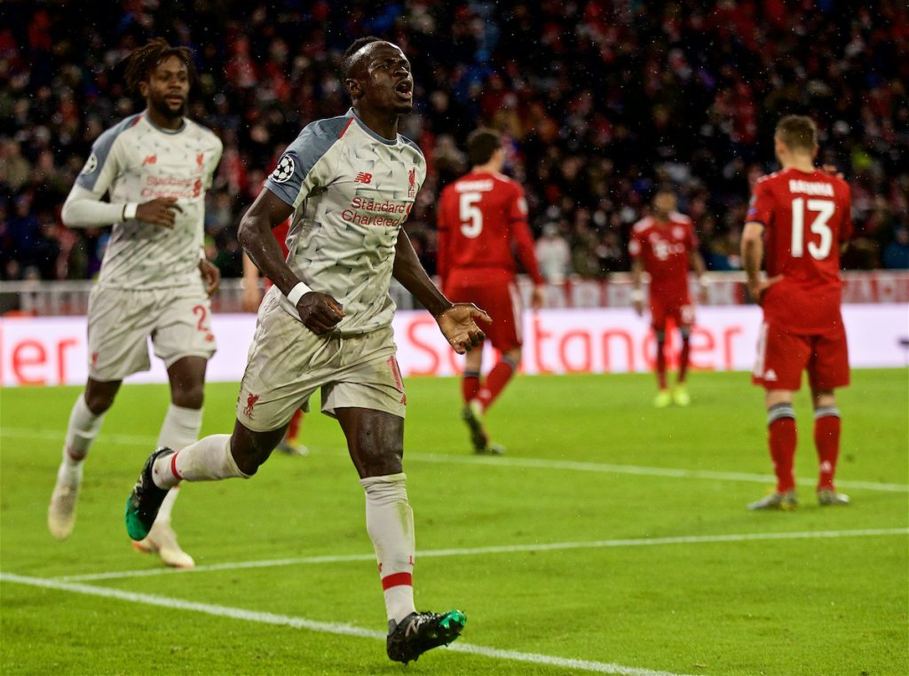 MUNICH, GERMANY - Wednesday, March 13, 2019: Liverpool's Sadio Mane celebrates scoring the third goal during the UEFA Champions League Round of 16 2nd Leg match between FC Bayern München and Liverpool FC at the Allianz Arena. (Pic by David Rawcliffe/Propaganda)
