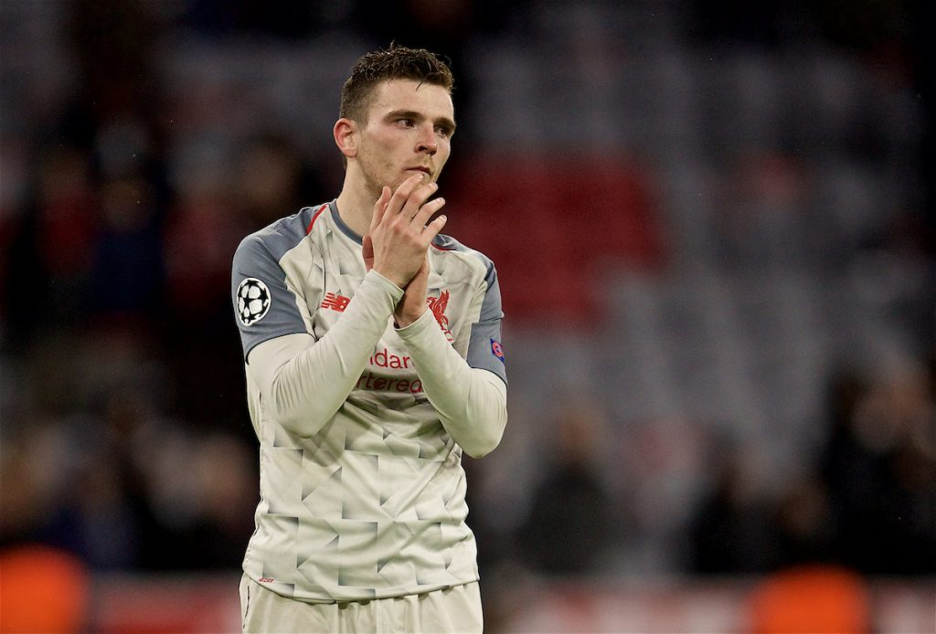 MUNICH, GERMANY - Wednesday, March 13, 2019: Liverpool's Andy Robertson looks dejected after the 3-1 victory, as he will miss the next game due to suspension, after the UEFA Champions League Round of 16 2nd Leg match between FC Bayern München and Liverpool FC at the Allianz Arena. (Pic by David Rawcliffe/Propaganda)