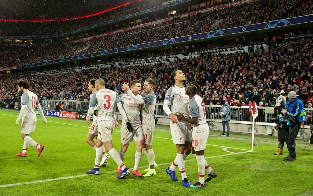 MUNICH, GERMANY - Wednesday, March 13, 2019: Liverpool's Virgil van Dijk celebrates scoring the third goal during the UEFA Champions League Round of 16 2nd Leg match between FC Bayern München and Liverpool FC at the Allianz Arena. (Pic by David Rawcliffe/Propaganda)