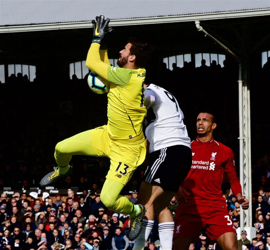 LONDON, ENGLAND - Sunday, March 17, 2019: Liverpool's goalkeeper Alisson Becker makes a save during the FA Premier League match between Fulham FC and Liverpool FC at Craven Cottage. (Pic by David Rawcliffe/Propaganda)