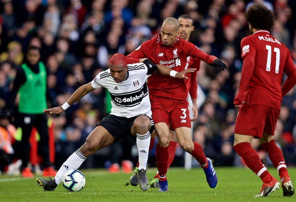 LONDON, ENGLAND - Sunday, March 17, 2019: Fulham's Ryan Babel (L) and Liverpool's Fabio Henrique Tavares 'Fabinho' (R) during the FA Premier League match between Fulham FC and Liverpool FC at Craven Cottage. (Pic by David Rawcliffe/Propaganda)