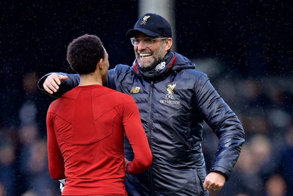 LONDON, ENGLAND - Sunday, March 17, 2019: Liverpool's manager J¸rgen Klopp embraces Trent Alexander-Arnold after the FA Premier League match between Fulham FC and Liverpool FC at Craven Cottage. (Pic by David Rawcliffe/Propaganda)