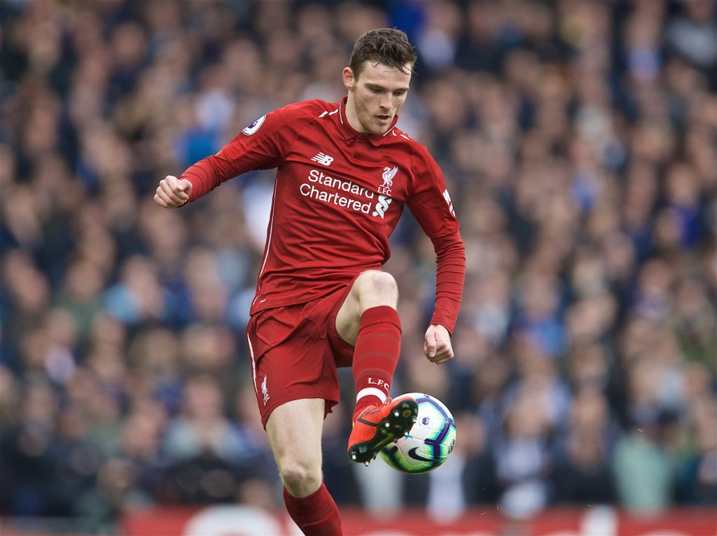 LIVERPOOL, ENGLAND - Sunday, March 31, 2019: Liverpool's Andy Robertson during the FA Premier League match between Liverpool FC and Tottenham Hotspur FC at Anfield. (Pic by David Rawcliffe/Propaganda)