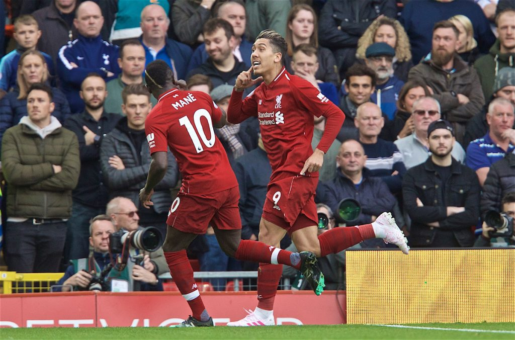 LIVERPOOL, ENGLAND - Sunday, March 31, 2019: Liverpool's Roberto Firmino celebrates scoring the first goal during the FA Premier League match between Liverpool FC and Tottenham Hotspur FC at Anfield. (Pic by David Rawcliffe/Propaganda)