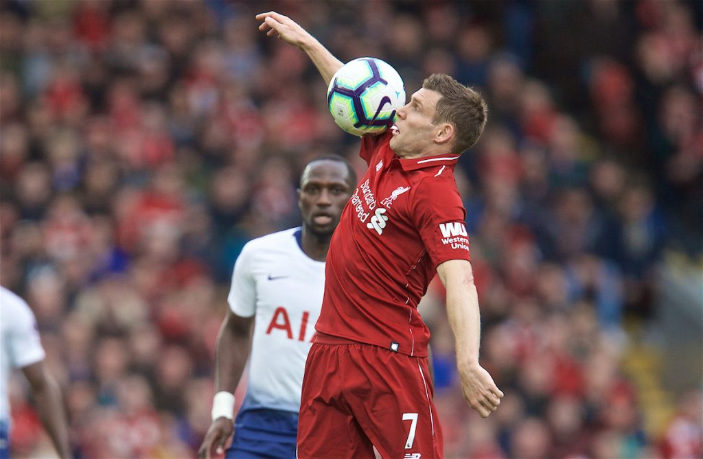 LIVERPOOL, ENGLAND - Sunday, March 31, 2019: Liverpool's James Milner during the FA Premier League match between Liverpool FC and Tottenham Hotspur FC at Anfield. (Pic by David Rawcliffe/Propaganda)