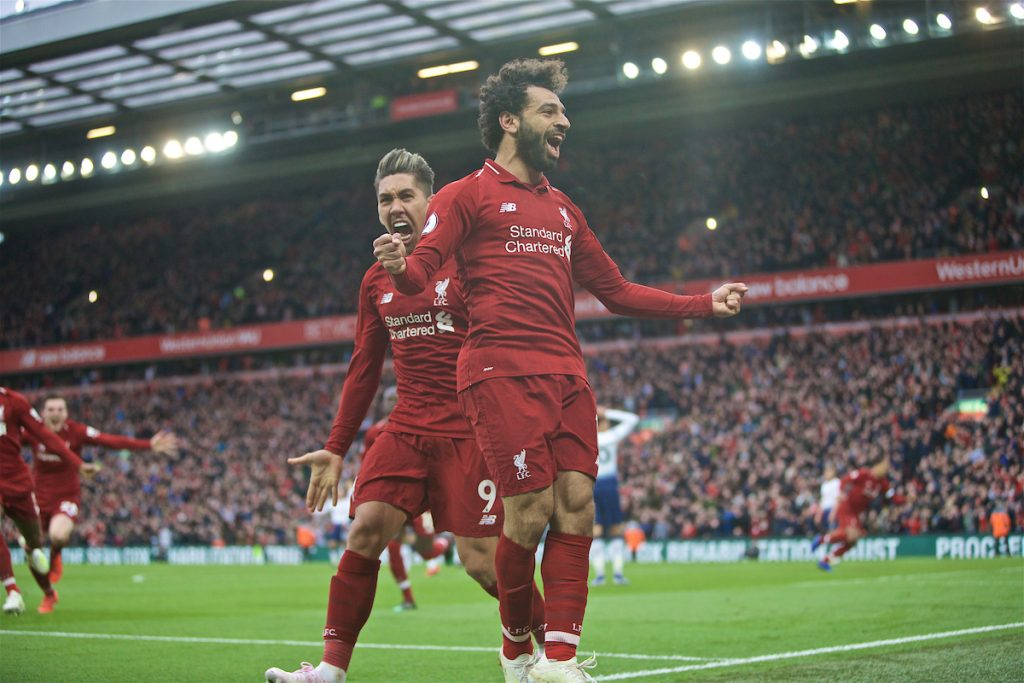 LIVERPOOL, ENGLAND - Sunday, March 31, 2019: Liverpool's Mohamed Salah celebrates after his header forced a winning goal, an own goal from Tottenham Hotspur's Toby Alderweireld during the FA Premier League match between Liverpool FC and Tottenham Hotspur FC at Anfield. (Pic by David Rawcliffe/Propaganda)