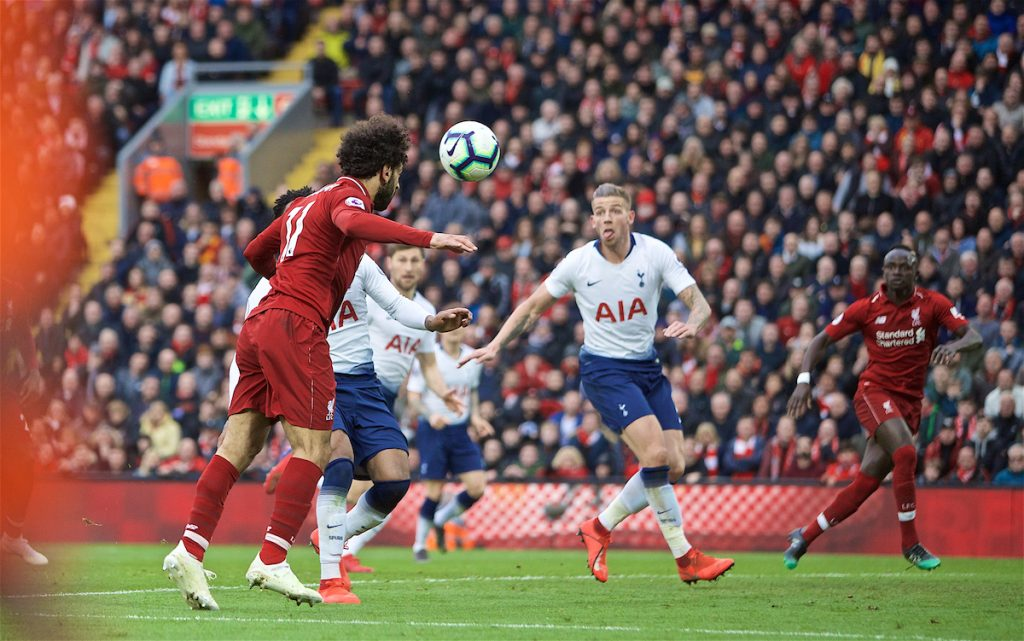 LIVERPOOL, ENGLAND - Sunday, March 31, 2019: Liverpool's Mohamed Salah heads toward the Tottenham Hotspur goal and forces an own-goal to seal a 2-1 victory during the FA Premier League match between Liverpool FC and Tottenham Hotspur FC at Anfield. (Pic by David Rawcliffe/Propaganda)