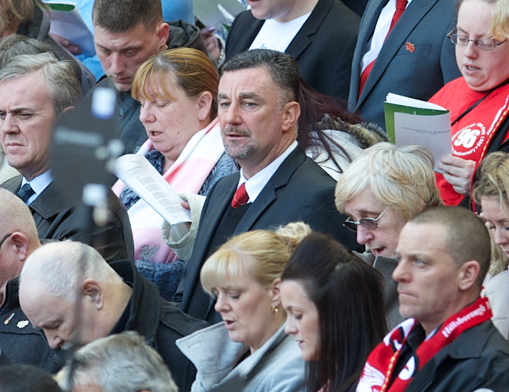 LIVERPOOL, ENGLAND - Monday, April 15, 2013: Former Liverpool player John Aldridge during the 24th Anniversary Hillsborough Service at Anfield. (Pic by David Rawcliffe/Propaganda)
