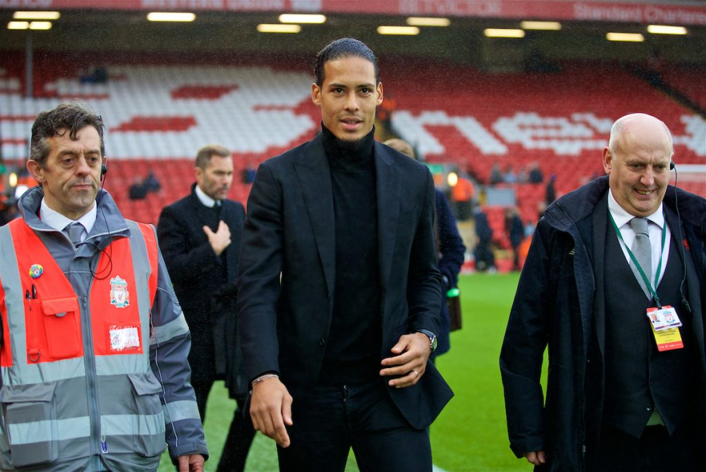 LIVERPOOL, ENGLAND - Saturday, December 30, 2017: Liverpool's new signing Virgil van Dijk, who joined from Southampton for £75m, a world record for a defender, arrives at Anfield before the FA Premier League match between Liverpool and Leicester City. (Pic by David Rawcliffe/Propaganda)