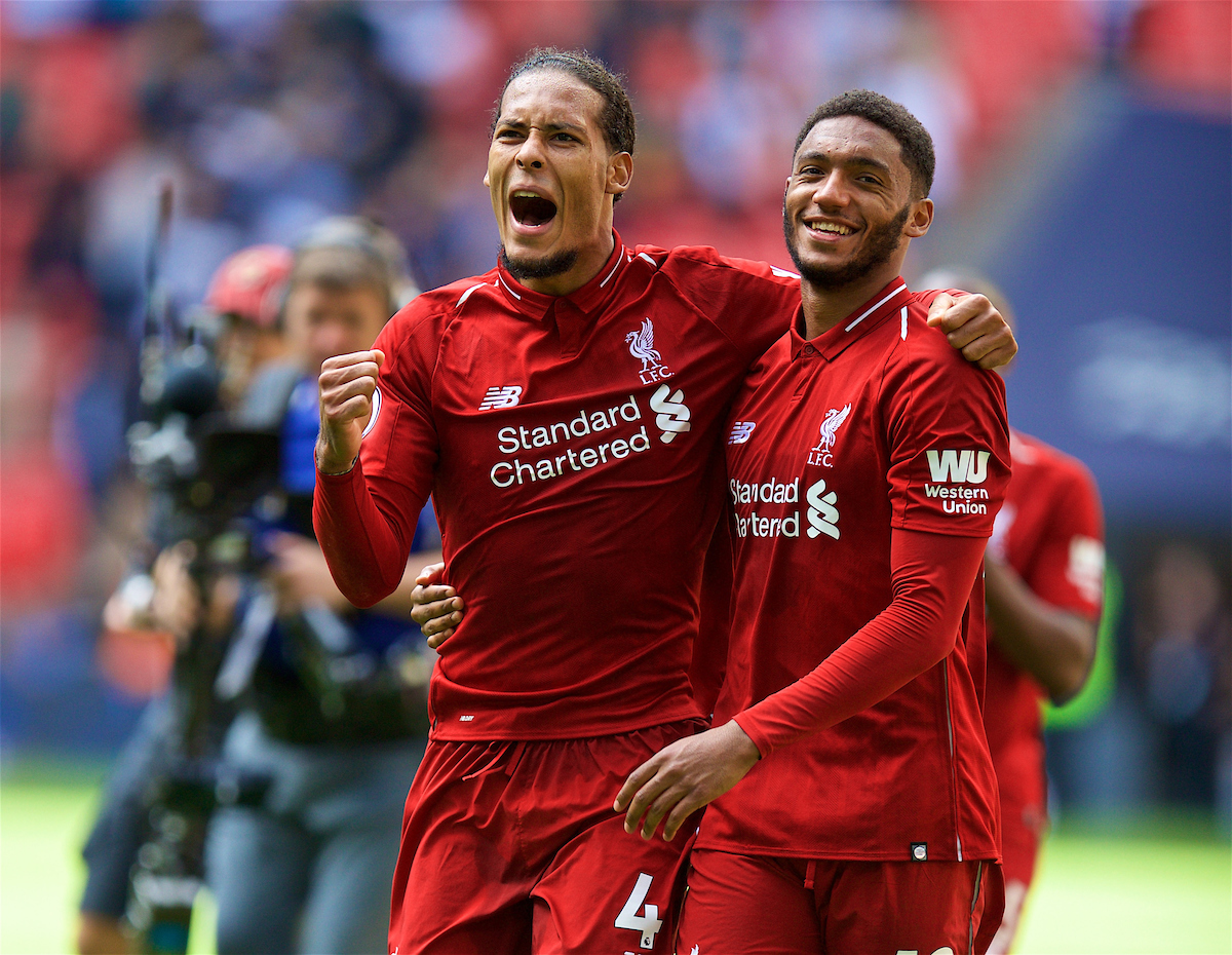 LONDON, ENGLAND - Saturday, September 15, 2018: Liverpool's Virgil van Dijk (left) and Joe Gomez celebrate after the FA Premier League match between Tottenham Hotspur FC and Liverpool FC at Wembley Stadium. Liverpool won 2-1. (Pic by David Rawcliffe/Propaganda)