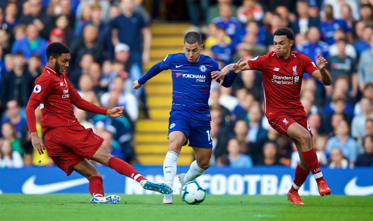 LONDON, ENGLAND - Saturday, September 29, 2018: Liverpool's Joe Gomez (left) and Trent Alexander-Arnold (right) tackle Eden Hazard (centre) during the FA Premier League match between Chelsea FC and Liverpool FC at Stamford Bridge. (Pic by David Rawcliffe/Propaganda)