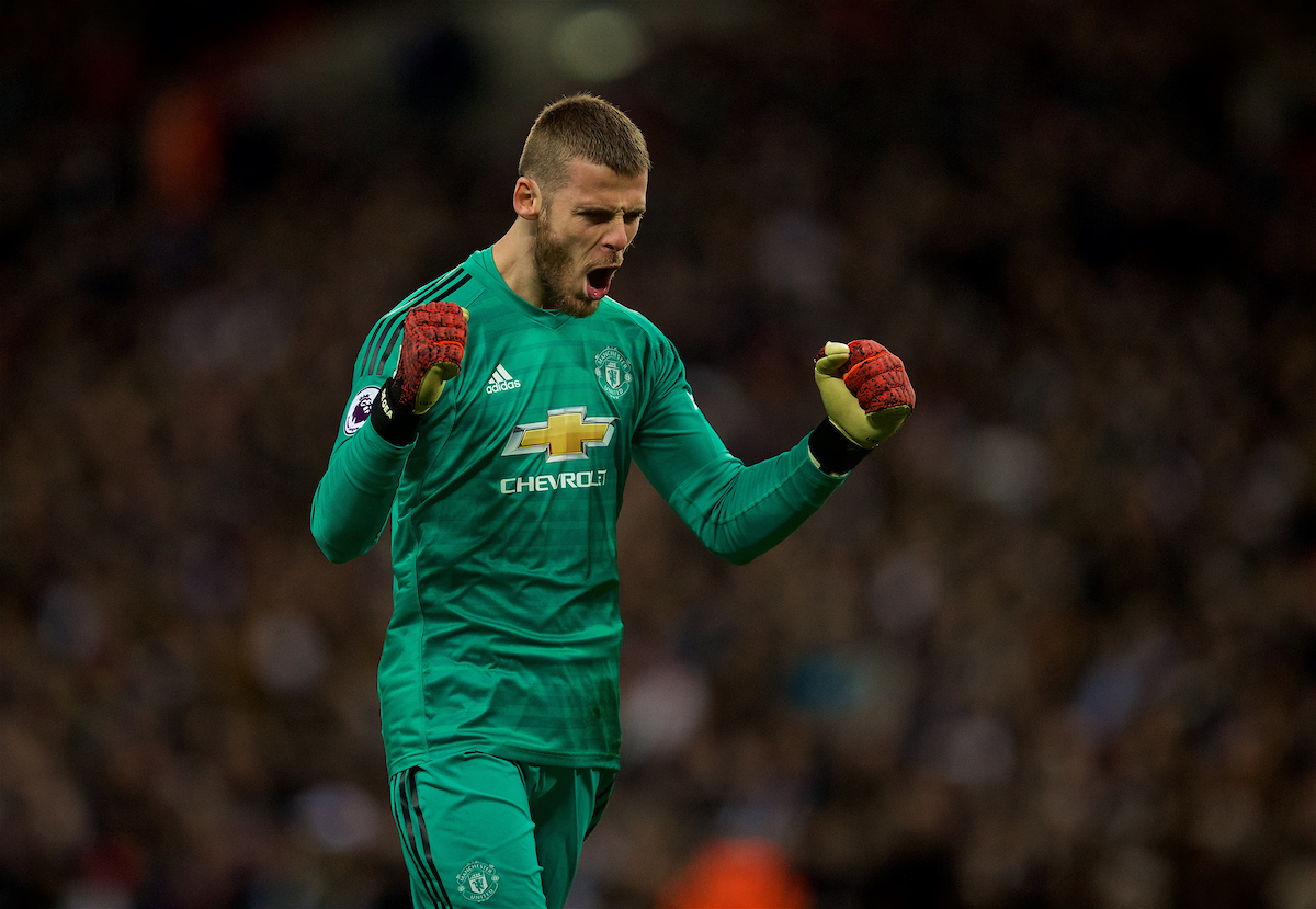 LONDON, ENGLAND - Sunday, January 13, 2019: Manchester United's goalkeeper David de Gea celebrates his side's opening goal during the FA Premier League match between Tottenham Hotspur FC and Manchester United FC at Wembley Stadium. (Pic by David Rawcliffe/Propaganda)