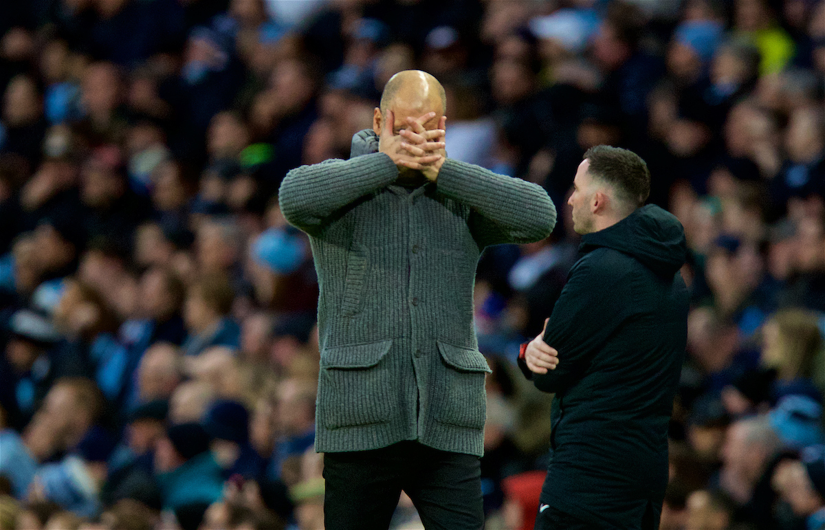 MANCHESTER, ENGLAND - Saturday, March 9, 2019: Manchester City's manager Pep Guardiola looks dejected during the FA Premier League match between Manchester City FC and Watford FC at City of Manchester Stadium. (Pic by David Rawcliffe/Propaganda)